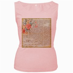 Vintage Floral Background Paper Women s Pink Tank Top