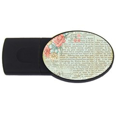 Vintage Floral Background Paper Usb Flash Drive Oval (2 Gb)