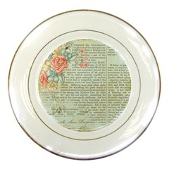 Vintage Floral Background Paper Porcelain Plates