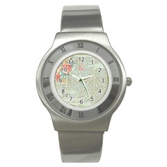 Vintage Floral Background Paper Stainless Steel Watch