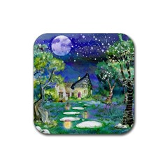 Background Fairy Tale Watercolor Rubber Coaster (square)