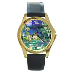 Background Fairy Tale Watercolor Round Gold Metal Watch