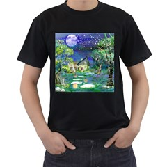 Background Fairy Tale Watercolor Men s T Shirt (black) (two Sided)