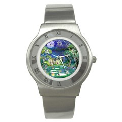 Background Fairy Tale Watercolor Stainless Steel Watch