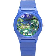 Background Fairy Tale Watercolor Round Plastic Sport Watch (s)