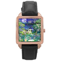 Background Fairy Tale Watercolor Rose Gold Leather Watch  by Nexatart