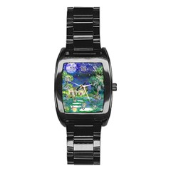 Background Fairy Tale Watercolor Stainless Steel Barrel Watch by Nexatart