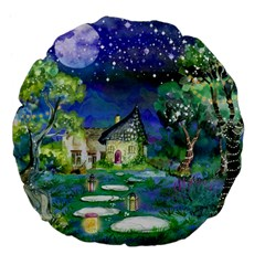 Background Fairy Tale Watercolor Large 18  Premium Flano Round Cushions