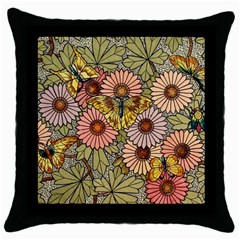 Flower Butterfly Cubism Mosaic Throw Pillow Case (black) by Nexatart