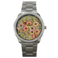 Flower Butterfly Cubism Mosaic Sport Metal Watch by Nexatart
