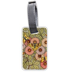 Flower Butterfly Cubism Mosaic Luggage Tags (two Sides) by Nexatart