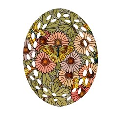 Flower Butterfly Cubism Mosaic Ornament (oval Filigree) by Nexatart