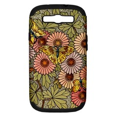 Flower Butterfly Cubism Mosaic Samsung Galaxy S Iii Hardshell Case (pc+silicone)