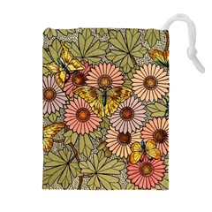 Flower Butterfly Cubism Mosaic Drawstring Pouches (extra Large) by Nexatart