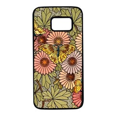 Flower Butterfly Cubism Mosaic Samsung Galaxy S7 Black Seamless Case by Nexatart