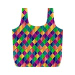 Background Geometric Triangle Full Print Recycle Bags (M)  Front