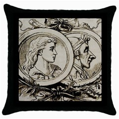 Young Old Man Weird Funny Throw Pillow Case (black) by Nexatart