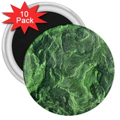 Green Geological Surface Background 3  Magnets (10 Pack)  by Nexatart