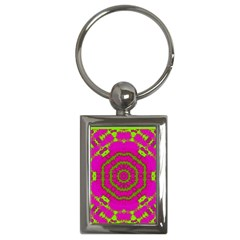 Fern Forest Star Mandala Decorative Key Chains (rectangle)  by pepitasart