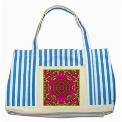 Fern Forest Star Mandala Decorative Striped Blue Tote Bag by pepitasart