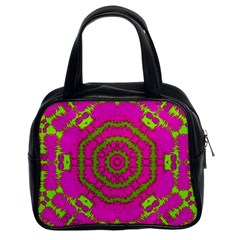 Fern Forest Star Mandala Decorative Classic Handbags (2 Sides) by pepitasart