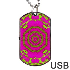 Fern Forest Star Mandala Decorative Dog Tag Usb Flash (one Side) by pepitasart