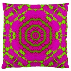 Fern Forest Star Mandala Decorative Large Cushion Case (two Sides) by pepitasart