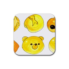 Bread Rubber Square Coaster (4 Pack)  by KuriSweets