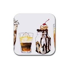 Coffee And Milkshakes Rubber Square Coaster (4 Pack)  by KuriSweets