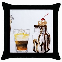 Coffee And Milkshakes Throw Pillow Case (black) by KuriSweets