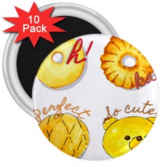 Cute Bread 3  Magnets (10 Pack)  by KuriSweets