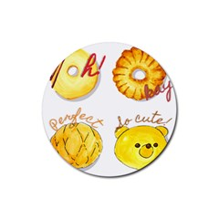 Bread Stickers Rubber Coaster (round)  by KuriSweets