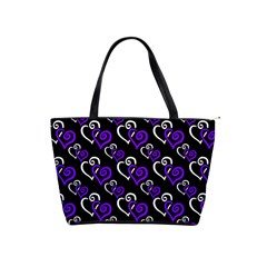 Purple And White Hearts Large Shoulder Bag by Goddess
