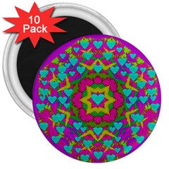 Hearts In A Mandala Scenery Of Fern 3  Magnets (10 Pack)  by pepitasart