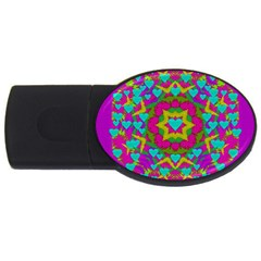 Hearts In A Mandala Scenery Of Fern Usb Flash Drive Oval (2 Gb) by pepitasart