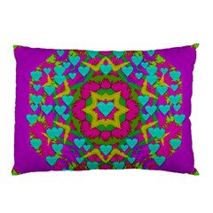 Hearts In A Mandala Scenery Of Fern Pillow Case by pepitasart
