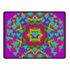 Hearts In A Mandala Scenery Of Fern Fleece Blanket (small) by pepitasart