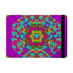 Hearts In A Mandala Scenery Of Fern Apple Ipad Mini Flip Case by pepitasart