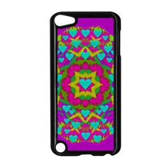 Hearts In A Mandala Scenery Of Fern Apple Ipod Touch 5 Case (black) by pepitasart