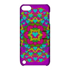 Hearts In A Mandala Scenery Of Fern Apple Ipod Touch 5 Hardshell Case With Stand by pepitasart