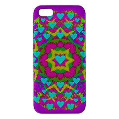 Hearts In A Mandala Scenery Of Fern Apple Iphone 5 Premium Hardshell Case by pepitasart