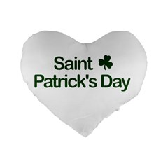 St  Patricks Day  Standard 16  Premium Flano Heart Shape Cushions