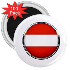 Austria Country Nation Flag 3  Magnets (100 Pack) by Nexatart