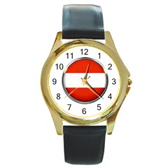Austria Country Nation Flag Round Gold Metal Watch