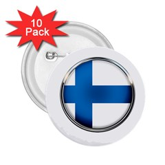 Finland Country Flag Countries 2 25  Buttons (10 Pack)  by Nexatart