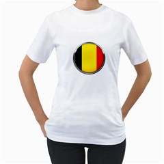 Belgium Flag Country Brussels Women s T Shirt (white) (two Sided)