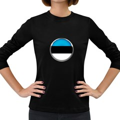 Estonia Country Flag Countries Women s Long Sleeve Dark T Shirts by Nexatart