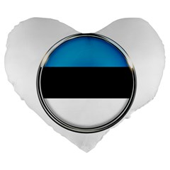 Estonia Country Flag Countries Large 19  Premium Flano Heart Shape Cushions by Nexatart