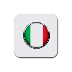 Italy Country Nation Flag Rubber Square Coaster (4 Pack)
