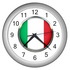 Italy Country Nation Flag Wall Clocks (silver)  by Nexatart
